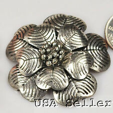 45x8mm Silver Pewter Flower Pendant Finding(EP27)a ~ Lead-Free ~