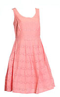 NEW Ex M & S 100% Cotton Peach Broderie Summer Dress Sizes 8-22