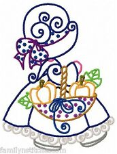Curly Thanksgiving Sunbonnets 10 Embroidery Designs on multi-formatted CD
