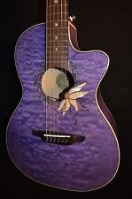 Luna Flora Passionflower Quilt Maple Acoustic Electric Guitar - Free Shipping!