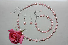 Light pink vintage pearl necklace bracelet earrings wedding bridal jewellery set