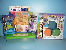 KINETIC SAND 3 COLOR SET w/ MOLDS / TOOLS / STORAGE CASE & PLAY BOOK  *NEW*
