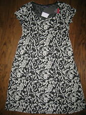 NEW Motherhood Oh Baby maternity womens Medium dress black ivory knee empire