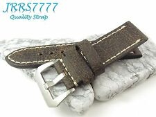 22mm Italy Genuina Leather Watch Strap Vintage Classic Dark Brown wristband