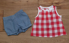 Carter's Baby Girl Shorts & Top Set ~ Blue (Jeans), Red & White ~ Checkered~ 3M~