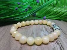 8mm  Honey Calcite Round Bead Stretchy Buddha Bracelet 7.5 inches