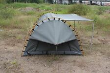 Deluxe Swag Freestanding Double Swag Camping Canvas Tent Aluminum Pole Grey