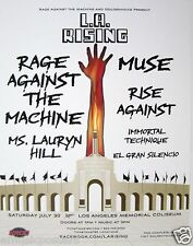 "RAGE AGAINST THE MACHINE, RISE AGAINST, MUSE ""L.A. RISING"" 2011 CONCERT POSTER"