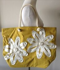 BODEN Mustard Yellow Large Tote Shoulder Bag With White Floral Appliques