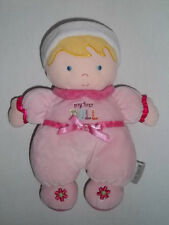 CARTERS Plush MY FIRST DOLL Blonde Pink Baby FLOWERS Rattles Stuffed Animal Toy