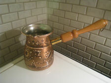 Turkish Handmade Handcarved Copper Coffee Pot,Cezve Jezve,İbrik Enamel Engraved