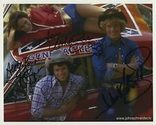 THE DUKES OF HAZZARD SIGNED BY 3 PHOTO CATHERINE BACH TOM WOPAT JOHN SCHNIEDER