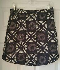 Madewell Distance Skirt Batik Grid Silk E9539 white black Small S Mini pockets