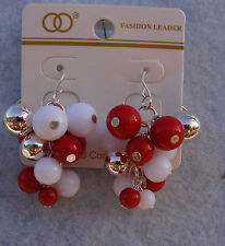 Women's Fashion Leader Jewelry Earrings,Silver,Red,White Tone Beads Dangle Hoop