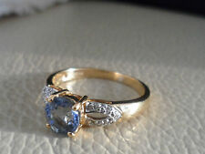 18K PARAIBA TOURMALINE & DIAMOND GOLD RING VERY RARE BEAUTIFUL BLUE COLOUR RARE.