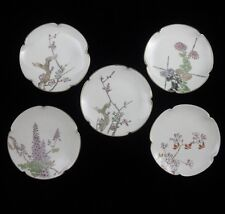 Vtg Japan Sushi dipping sauce dishes plates porcelain Floral Set 5 Hand Painted