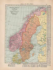 1909 MAP ~ SWEDEN NORWAY DENMARK ~ DISTRICTS TOWNS-CITIES STOCKHOLM COPENHAGEN