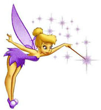 20  WATER SLIDE NAIL  DECALS TRANSFERS PURPLE TINKERBELL FAIRY