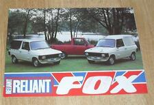 Reliant Fox BROCHURE FLYER 1983-Utilità-PICK UP-HARD-TOP