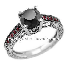 2.45 CARAT BLACK DIAMOND & RED RUBY ENGAGEMENT RING 14k WHITE GOLD VINTAGE STYLE