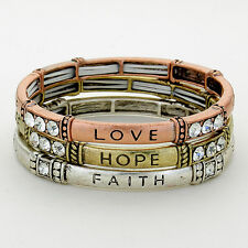 Love Hope Faith Stretch Bracelet SILVER GOLD Set 3 Inspirational Message Jewelry