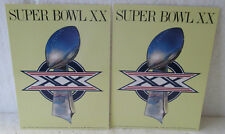 2 UNUSED SUPERBOWL XX POSTCARDS + 2 BROCHURES ON NEW ORLEANS-CHICAGO BEARS