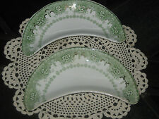 2 ANTIQUE T & R BOOTE WATERLOO POTTERIES OLYMPIA GREEN TRANSFERWARE BONE DISHES