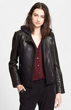 Auth. NWT Vince Lambskin Leather Moto Jacket With Removerable Hooded Liner Small