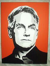 Canvas Painting Mark Harmon NCIS Leroy Jethro Gibbs B&W Art 16x12 inch Acrylic