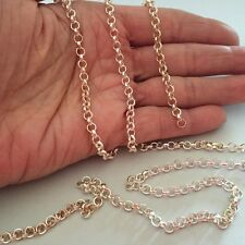 Sterling Silver Rolo Chain 4mm  Heavy by the foot jewelry finding (ch391)
