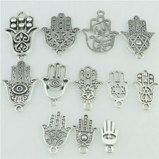 12PC MIX Alloy Faith Religious Hand of Fatima Hamesh Hand Hamsa Hand Pendant