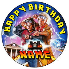 "BACK TO THE FUTURE - 7.5"" PERSONALISED ROUND EDIBLE ICING CAKE TOPPER"