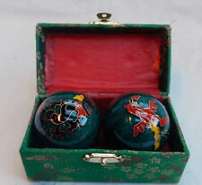 Enamel Chinese Baoding Balls - Dragon & Phoenix - Green - Boxed - New - 50mm