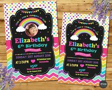 RAINBOW INVITATIONS PERSONALISED INVITES BIRTHDAY PARTY SUPPLIES PHOTO CARD GIRL