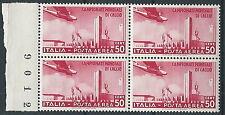 1934 REGNO POSTA AEREA MONDIALI DI CALCIO 50 CENT QUARTINA MNH ** - T192