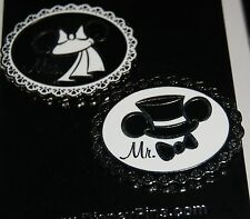 DISNEY Wedding BRIDE Veil and GROOM Top Hat Mr. & Mrs.2 Pin Set NEW ON CARD