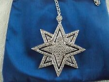 "NEW SONIA BITTON SS STAR PENDANT NECKLACE PLATINUM EMBRACED 17 3/4"" CHAIN w BAG"