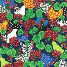 Fat Quarter Whimsical Hens And Geraniums 100% Cotton Quilting Fabric - Nutex