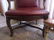 Imported Italy- Red Leather French Louis XV Arm Chair FREE TERMINAL SHIPPING