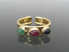 Vintage Italian 14K Solid Yellow Gold Emerald, Ruby & Sapphire Band Ring Size 7