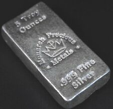 5 oz Monarch Hand Poured Silver Bar .999 Bullion FREE SHIPPING MPM
