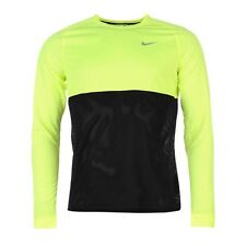 NIKE RUNNING LONG SLEEVE T SHIRT VOLT BLACK NWT MEN MEDIUM 683574-702