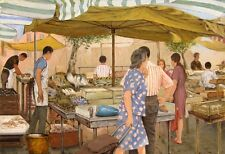 """perfact 36x24 oil painting handpainted on canvas """"fish market """"N5016"""