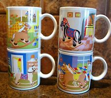 Set of 4 Rocking Horse Cat Themed Coffee Mugs Cups JAPAN Child Children Kids Lot