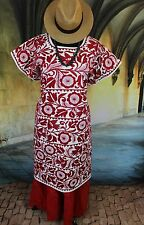 Detailed Red & Cream Hand Embroidered Huipil Dress, Jalapa Mexico Santa Fe Style