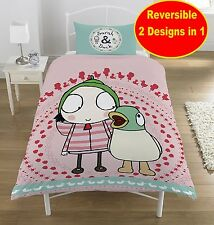 NEW Cbeebies SARAH AND DUCK SINGLE DUVET QUILT COVER SET GIRLS KIDS PINK BEDROOM