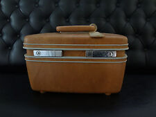 VTG BROWN SAMSONITE TRAIN CASE CARRY ON TRAVEL BAG LUGGAGE SUITCASE & KEY & TRAY