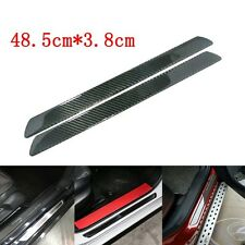 2x Real Carbon Fiber Car Scuff Plate Door Sill Cover Panel Step Protector Guard