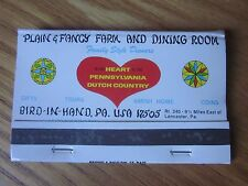 1960's Matchbook Plain & Fancy Farm and Dining Room Amish Buggy Bird-in-Hand PA