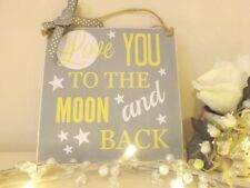Handmade Baby Nursery Sign Plaque Love You To The Moon Shabby Chic Yellow Grey